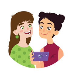 asian girl is sharing video to a european girl vector image