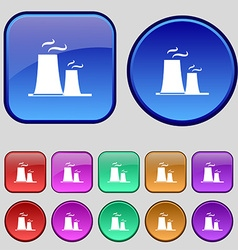 Atomic power station icon sign A set of twelve vector