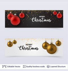 banners with shiny fir tree toy balls and text vector image