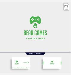Bear game logo design template animal concept vector