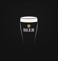 beer glass logo with beer hop on black background vector image