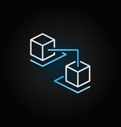 blockchain cubes creative line icon on dark vector image