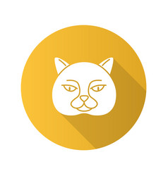British shorthair cat flat design long shadow vector