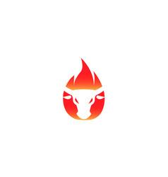 Buffalo bullhead fire angry cow flame logo vector
