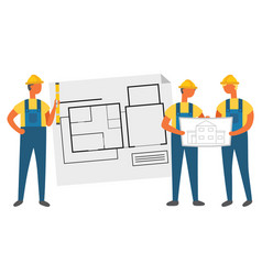 Building project builder with house plan vector