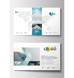 Business card templates Flat design blue color vector