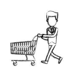 Businessman character push shopping cart vector