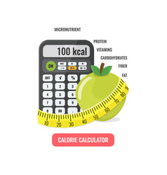 Calculator with apple and measuring tape vector