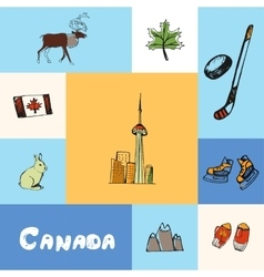 Canada Squared Concept with Doodles vector image