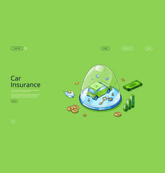 Car insurance isometric landing auto at glass dome vector
