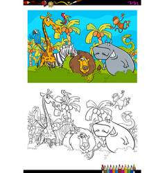 Cartoon safari animal characters coloring book vector