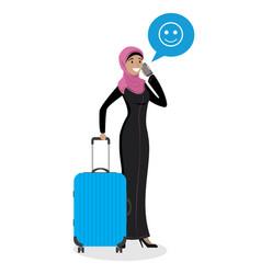 Cartoon young arab woman holding blue modern vector