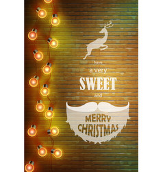 Christmas composition on brick background with vector