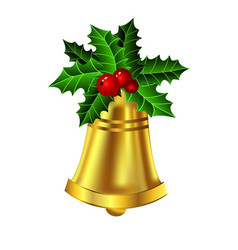 Christmas golden bell holly sprig and berries vector