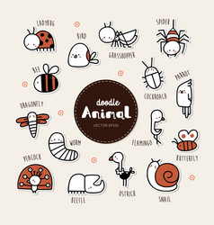 collection hand draw animal icon doodle style vector image