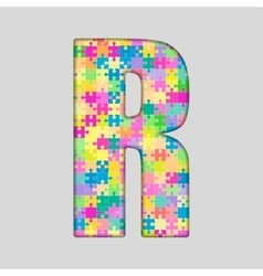 Color Piece Puzzle Jigsaw Letter - R vector image