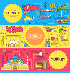country turkey brochure cards thin line set vector image
