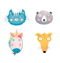 cute animal faces flat set vector image