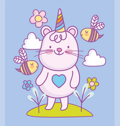 cute little mouse party hat flowers cartoon vector image