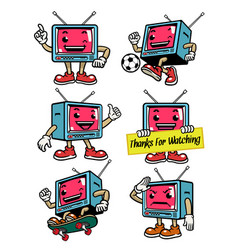cute television mascot in various pose vector image