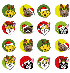 dogs and cat in christmas hat seamless pattern vector image