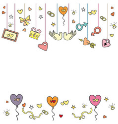 Doodle wedding greeting card vector