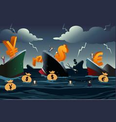 Economic crisis concept vector