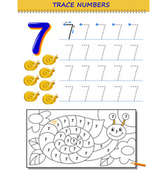 Educational page for kids with number 7 printable vector