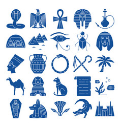 Egypt silhouette icons set in flat style vector