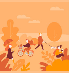 Fall activity cartoon people in autumn park vector