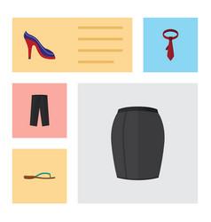 Flat icon clothes set of cravat pants beach vector