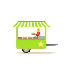 Flat street food cart with fresh food vector