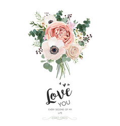 Floral card design rose peach pink flowers vector