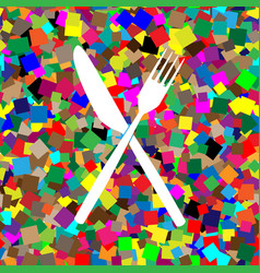fork and knife sign white icon on vector image