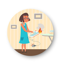 Girl holding burning iron flat vector