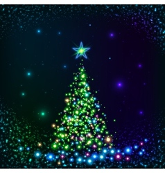 Green shining lights Christmas tree vector