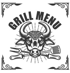 Grill menu bull head on white background vector