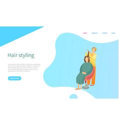 hair styling screen website hairdresser vector image