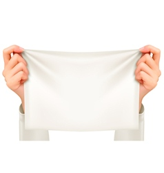 Hands holding a piece cloth - banner vector