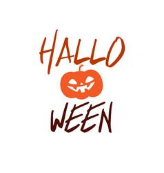 happy halloween party title logo template pumpkin vector image