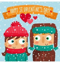 Happy Valentines Day greeting card with couple vector image