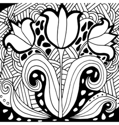 High quality original tulip coloring for adults vector
