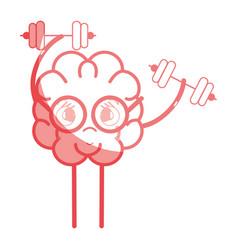 icon adorable kawaii brain doing exercise vector image