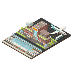 Isometric airport and metro station concept vector