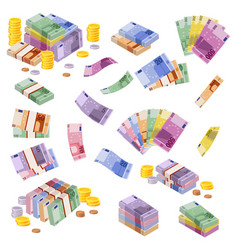 Isometric euro banknotes cash money various vector