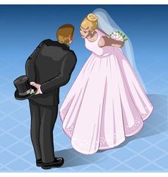 Isometric Kissing Wedding Couple vector