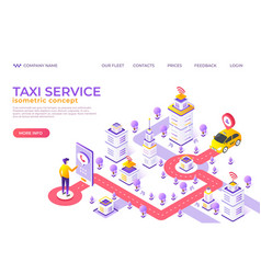 Isometric taxi landing page city map website vector