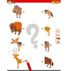 Join halves of animal pictures educational game vector