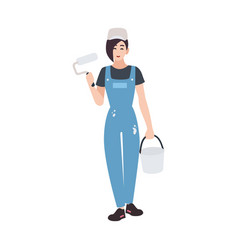 joyful house painter or decorator wearing vector image