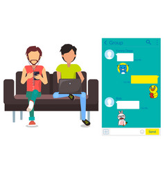 kakao talk messenger app in smartphone and laptop vector image